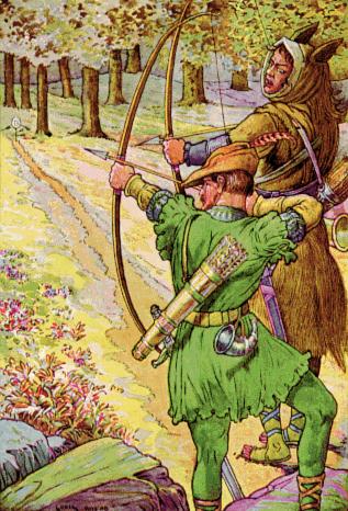 «Робин состязается в стрельбе с Гаем Гисборном», художник Л. Рид